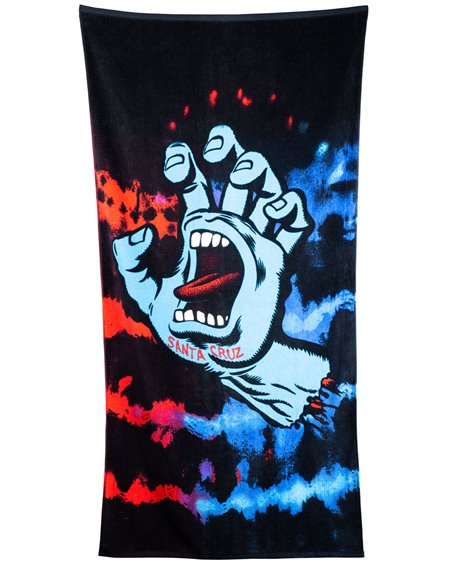 Santa Cruz Screaming Hand Tie Dy Toalla de Playa Red/Blue
