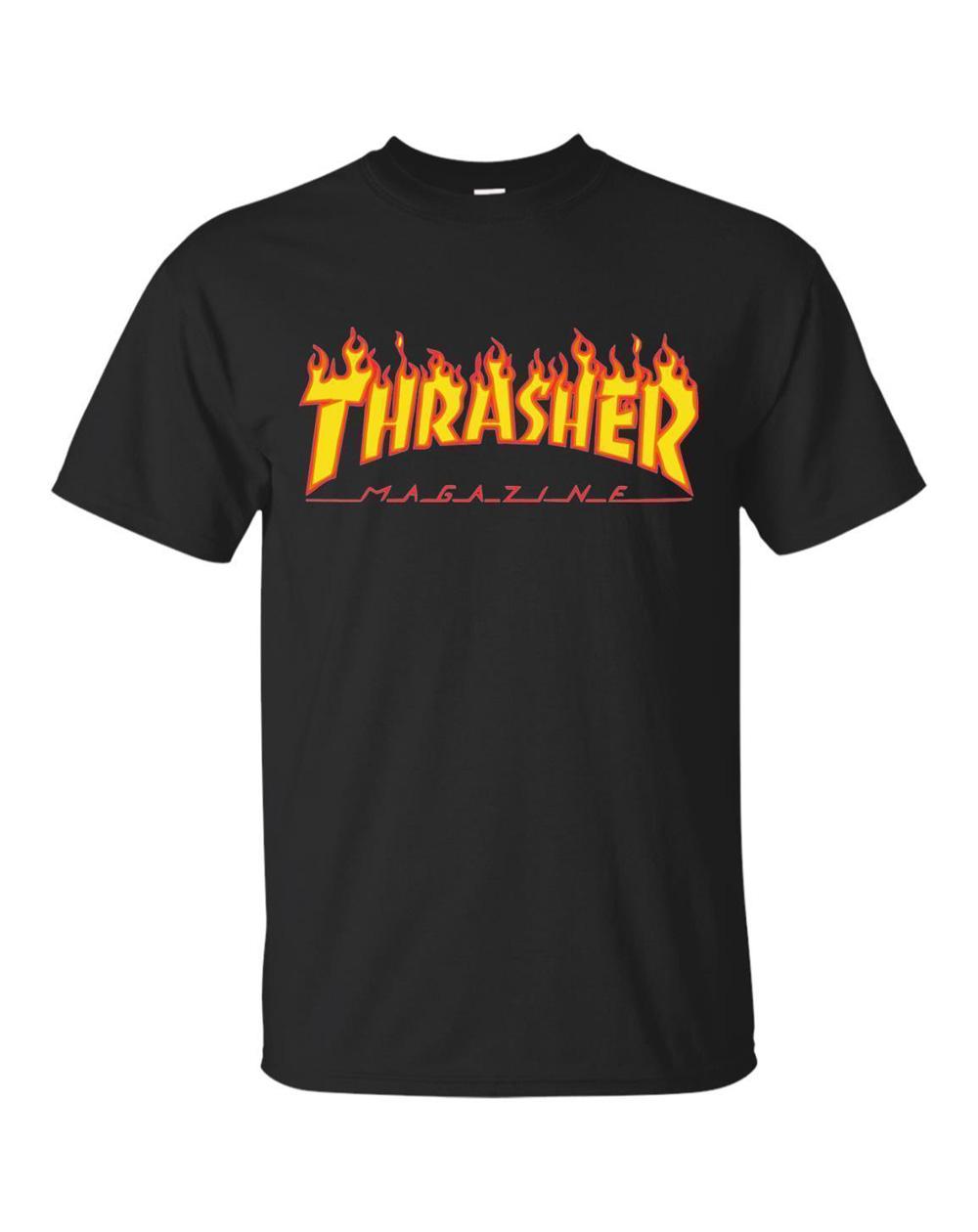 Thrasher Flame T-Shirt Uomo Black