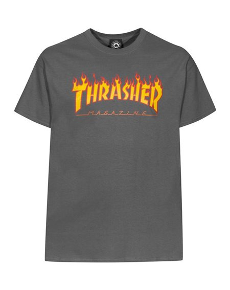 Thrasher Flame T-Shirt Uomo Charcoal