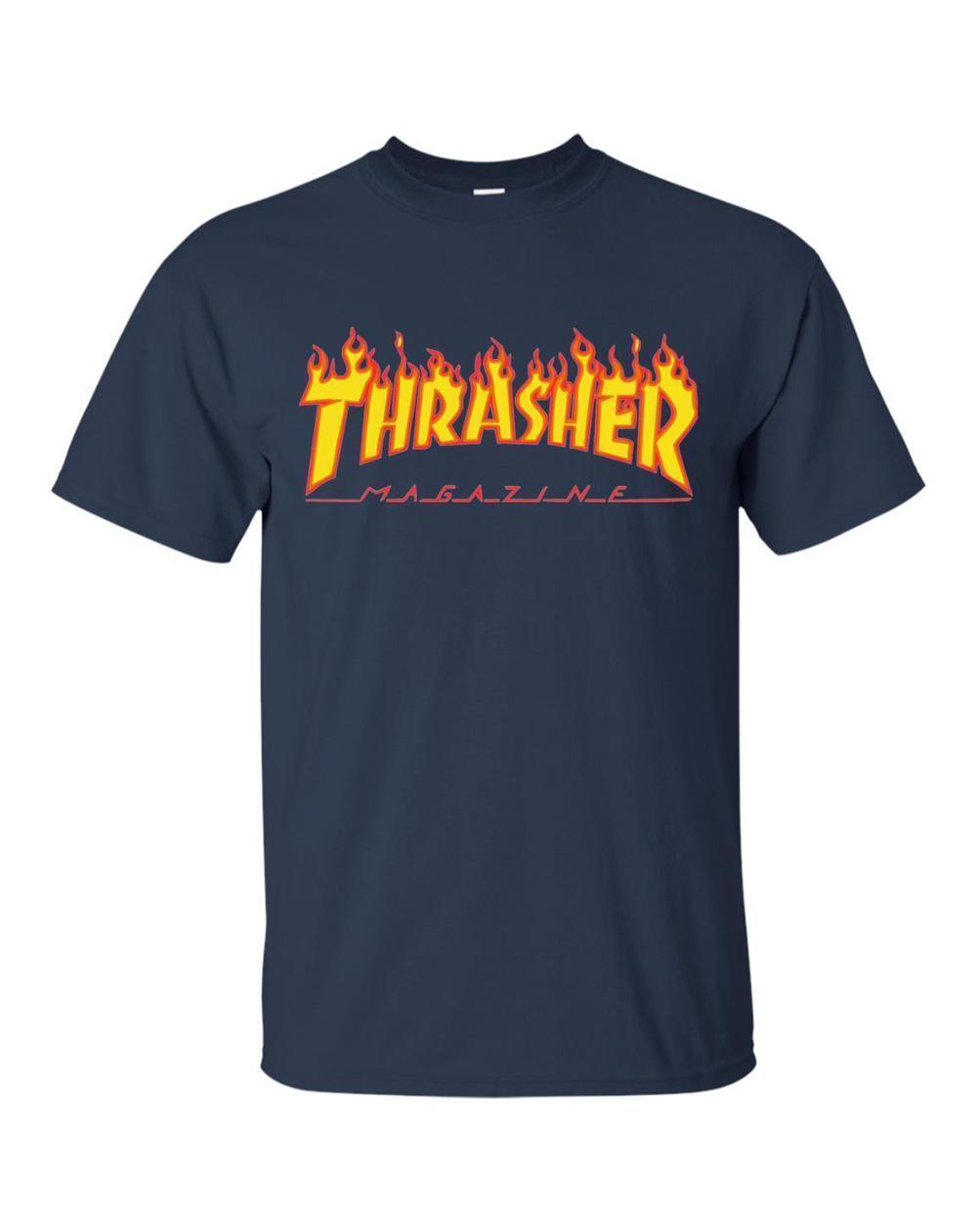 Thrasher Men's T-Shirt Flame Navy
