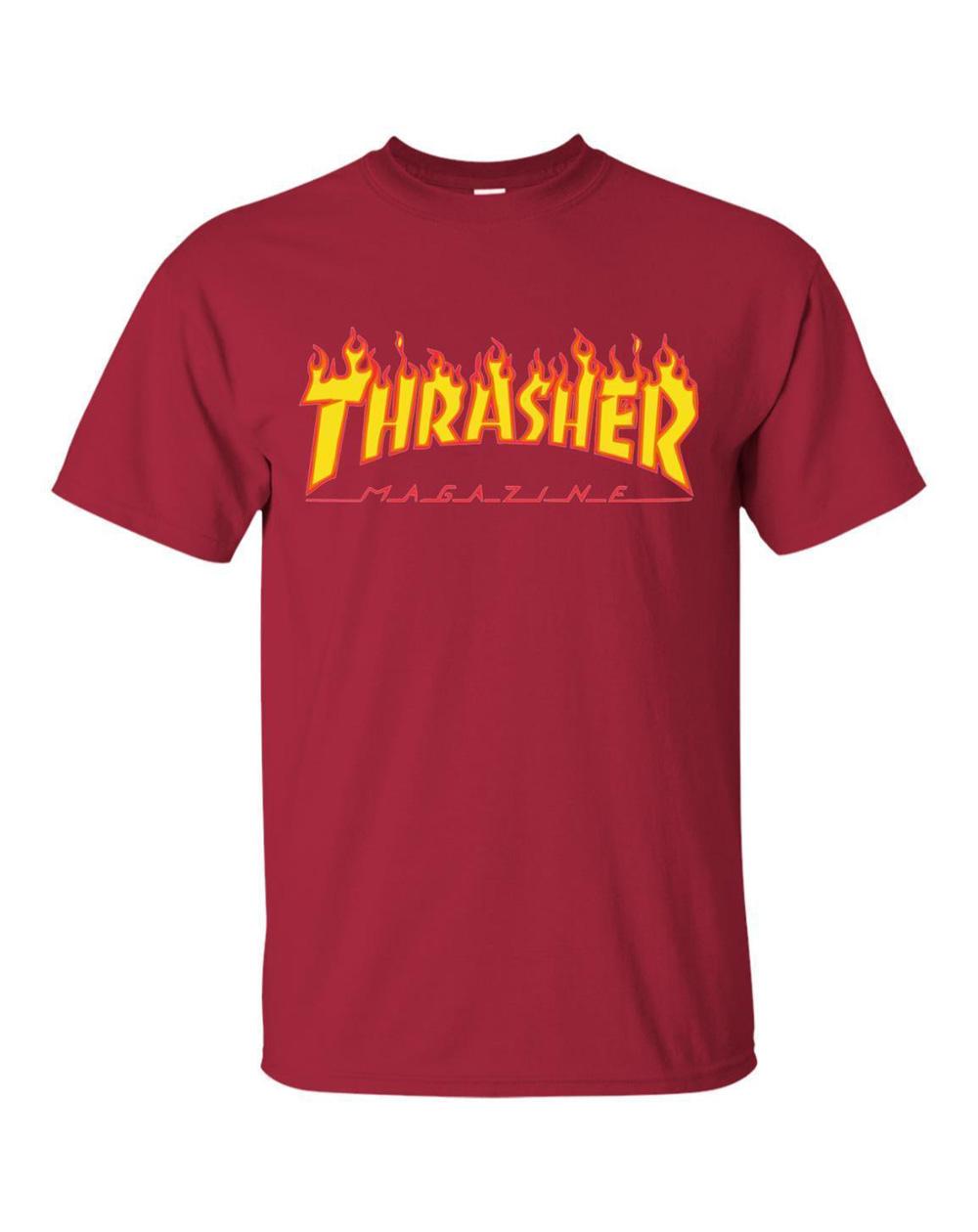Thrasher Flame T-Shirt Uomo Cardinal