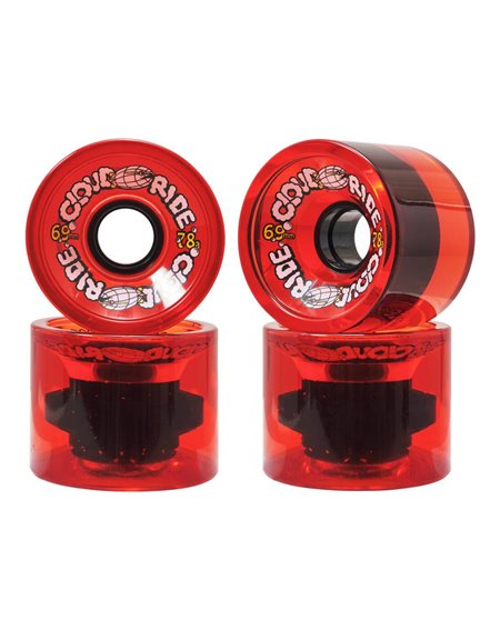 Cloud Ride 69mm Longboard Wheels Translucent Red