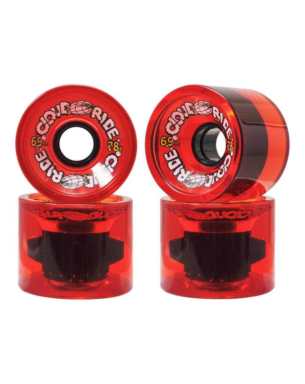 Cloud Ride 69mm Longboard Wheels Translucent Red