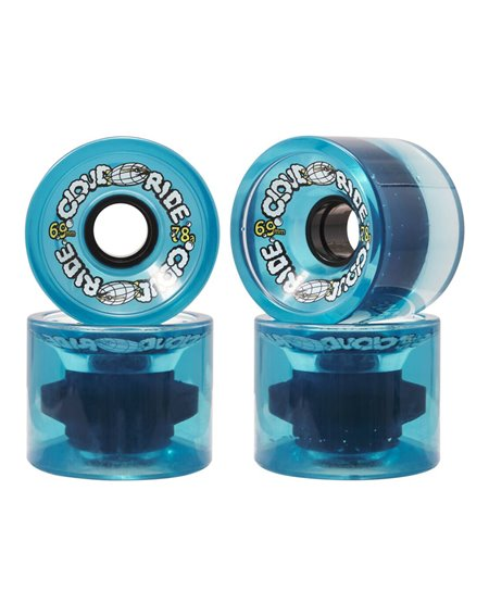 Cloud Ride 69mm Longboard Wheels Clear Blue