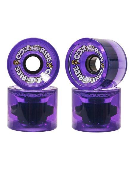 Cloud Ride 69mm Longboard Wheels Clear Purple