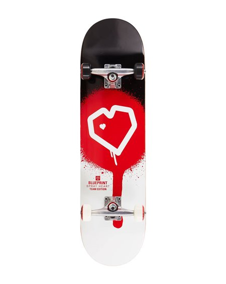 """Blueprint Skate Montado Spray Heart V2 8.25"""" Black/Red"""
