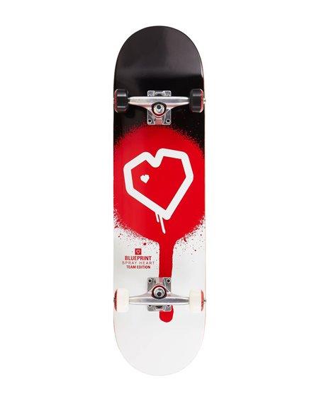 "Blueprint Spray Heart V2 8.25"" Complete Skateboard Black/Red"