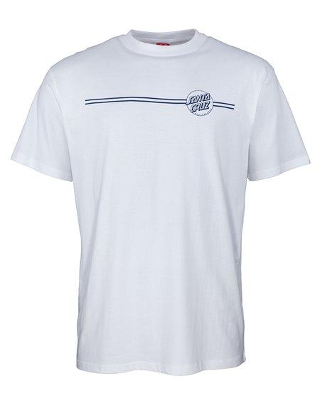 Santa Cruz Opus Dot Stripe T-Shirt Uomo White/Navy