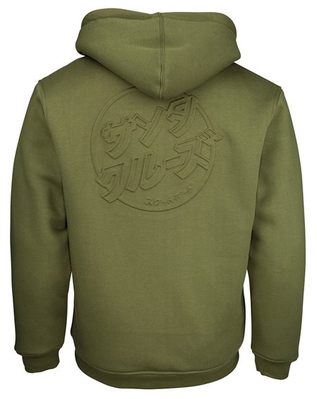 Santa Cruz Men's Full Zip Hoodie Japanese Dot Emboss Army Green