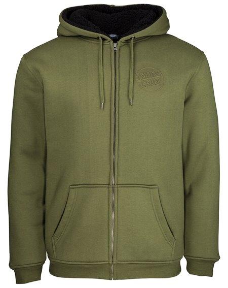 Santa Cruz Men's Full Zip Hoodie Japanese Dot Emboss Army Green