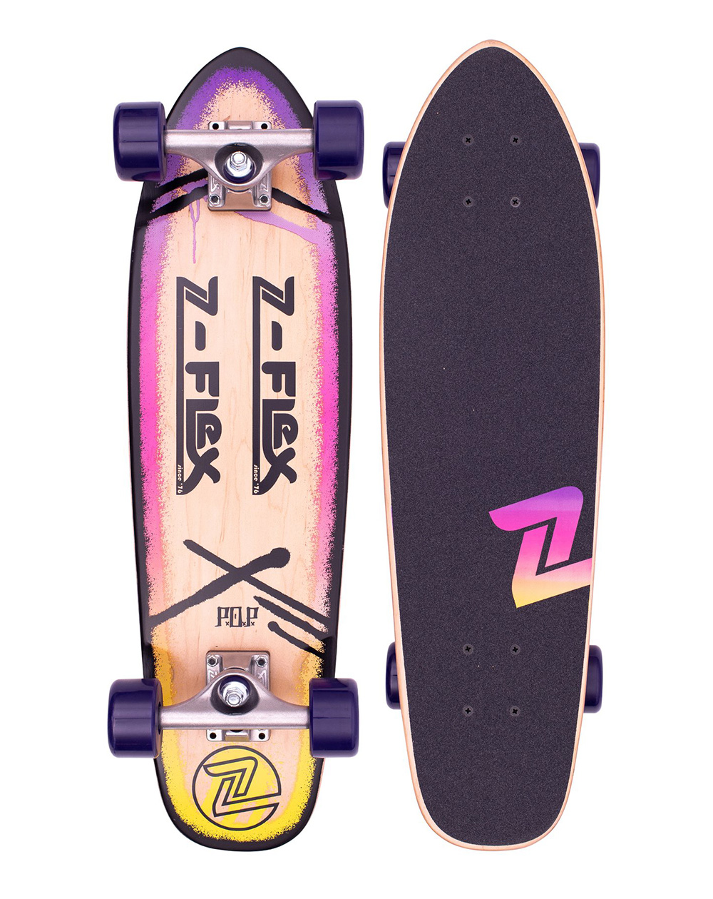 "Z-Flex Skateboard Cruiser P.O.P. 27"" Purple Fade"