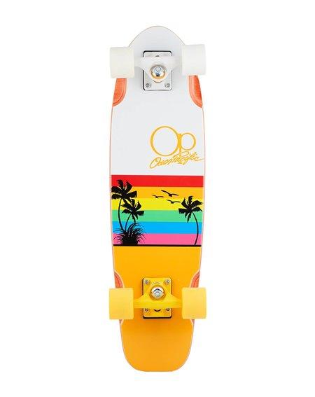 """Ocean Pacific Sunset 27"""" Skateboard Cruiser White/Orange"""