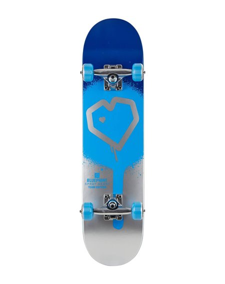 "Blueprint Spray Heart V2 7.50"" Complete Skateboard Blue/Silver"