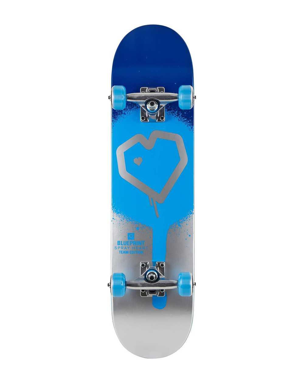 "Blueprint Spray Heart V2 7.50"" Complete Skateboard Blue/Silver"