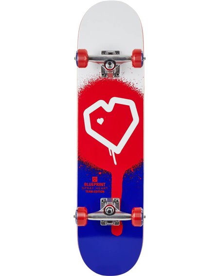 "Blueprint Spray Heart V2 8.00"" Complete Skateboard Red/Blue"