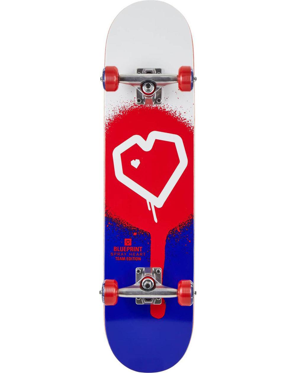 "Blueprint Skateboard Complète Spray Heart V2 8.00"" Red/Blue"