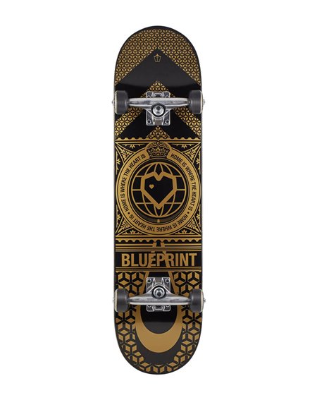 "Blueprint Home Heart V2 8.00"" Complete Skateboard Black/Gold"