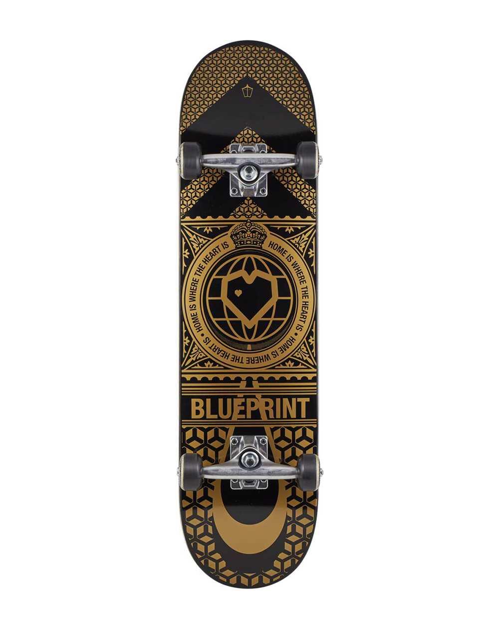 """Blueprint Skateboard Home Heart V2 8.00"""" Black/Gold"""