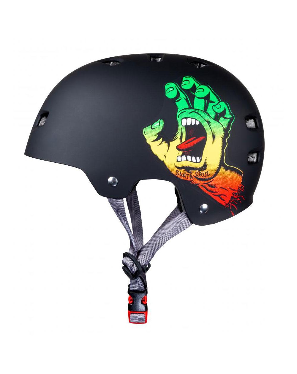 Bullet Safety Gear Casco Skateboard Bullet x Santa Cruz Screaming Hand Rasta