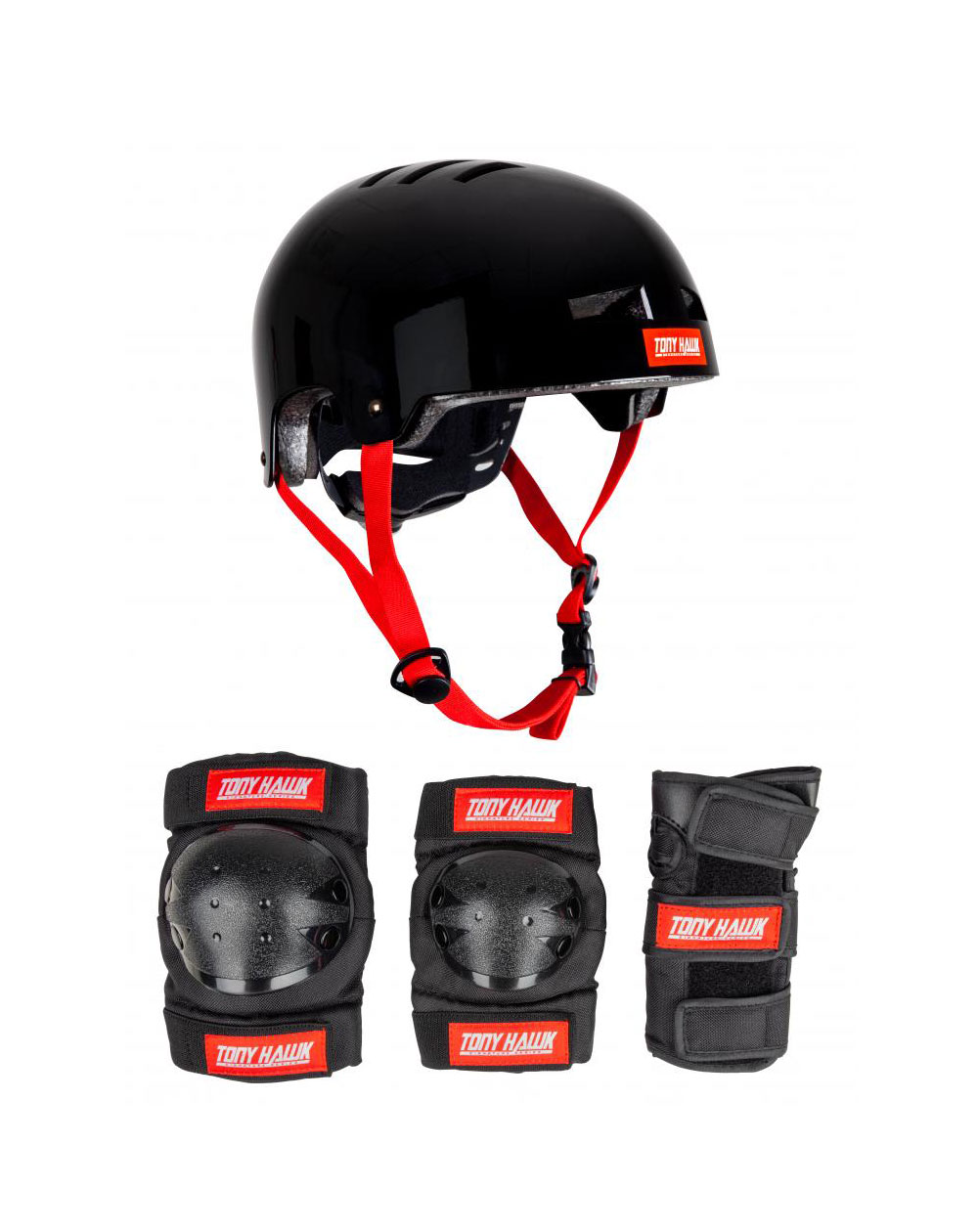 Tony Hawk Junior Protective Set Skateboard Pad Set Black/Red