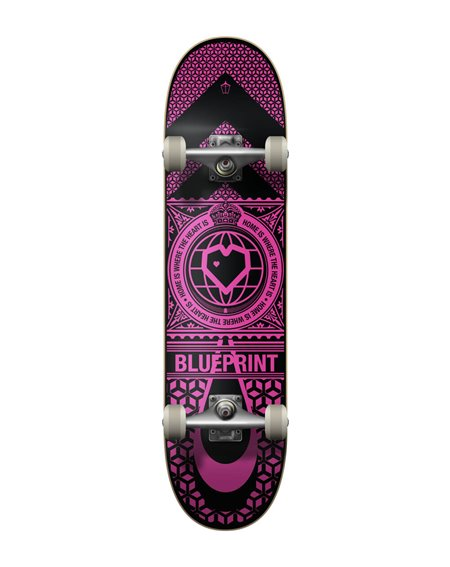 "Blueprint Skateboard Completo Home Heart 7.75"" Black/Pink"