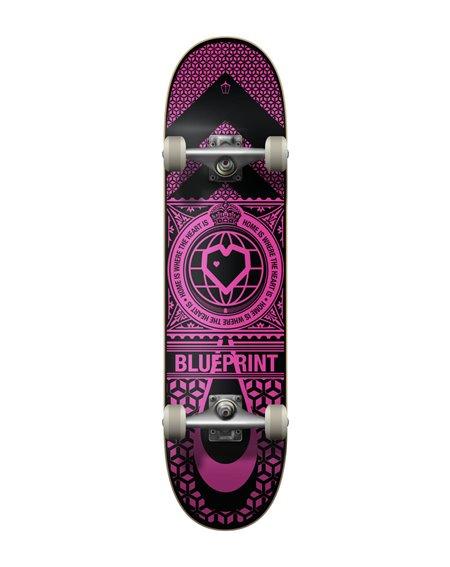 "Blueprint Skateboard Complète Home Heart 7.75"" Black/Pink"