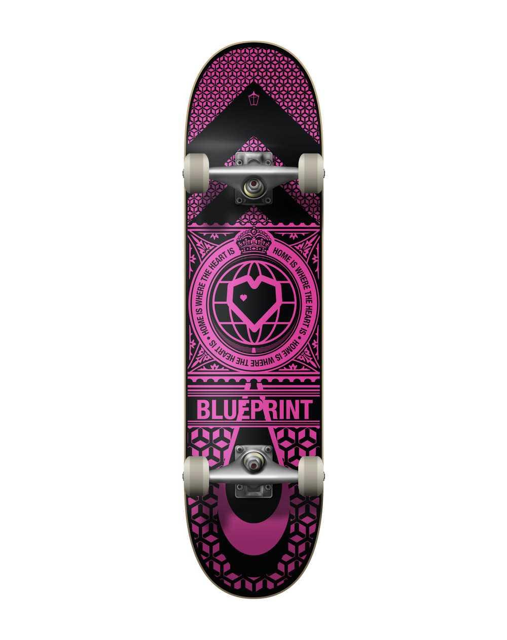 "Blueprint Skateboard Home Heart 7.75"" Black/Pink"