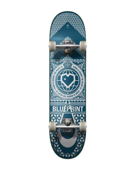"Blueprint Home Heart 8.00"" Complete Skateboard Navy/White"