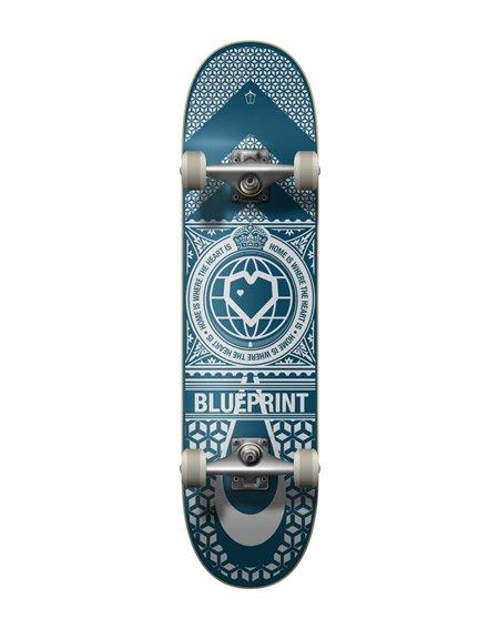 """Blueprint Home Heart 8.00"""" Komplett-Skateboard Navy/White"""