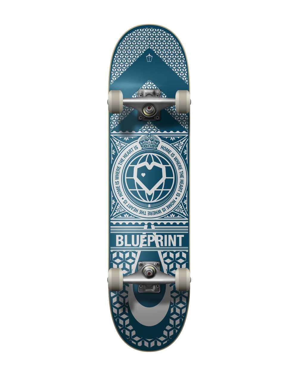 """Blueprint Home Heart 8.00"""" Complete Skateboard Navy/White"""
