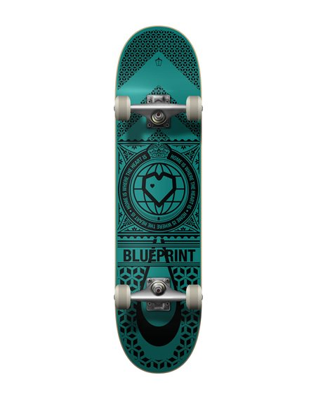 "Blueprint Home Heart 8.25"" Complete Skateboard Black/Teal"