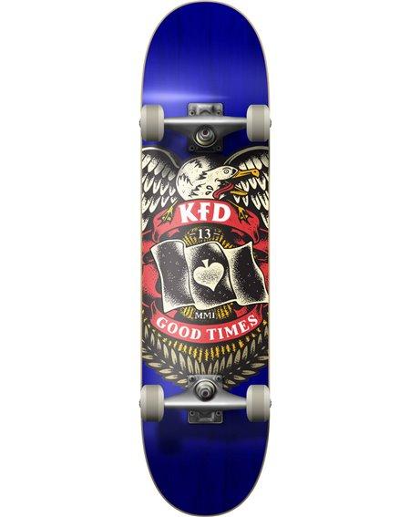 "KFD Young Gunz 7.75"" Complete Skateboard Badge Blue"