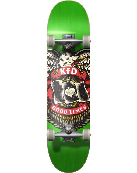 "KFD Young Gunz 8.00"" Complete Skateboard Badge Green"
