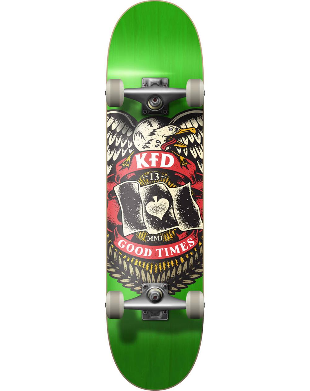 "KFD Young Gunz 8.00"" Complete Skateboard Badge Green"