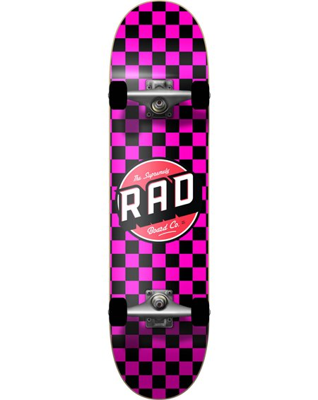 "Rad Checkers 7.75"" Complete Skateboard Black/Pink"