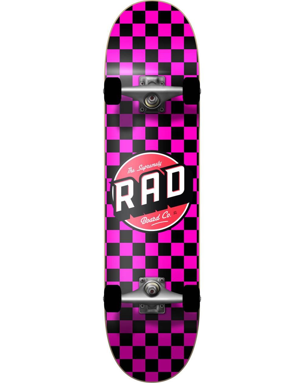 "Rad Checkers 7.75"" Complete Skateboard Black/Pink"