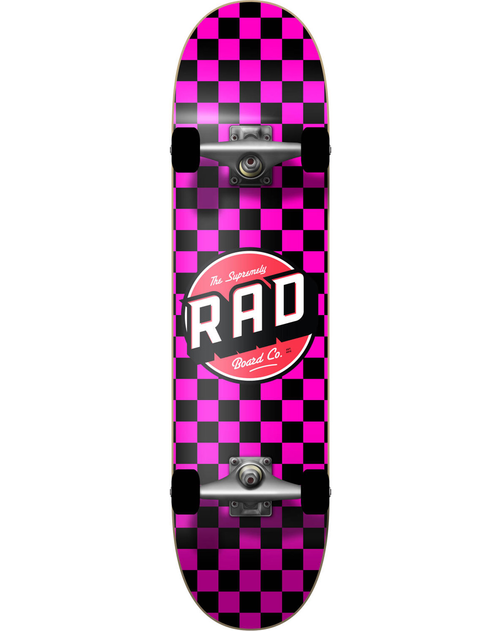 "Rad Skateboard Checkers 7.75"" Black/Pink"