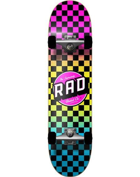"""Rad Checkers 7.75"""" Complete Skateboard Neon Fade"""