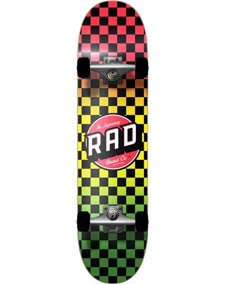 """Rad Checkers 8.00"""" Complete Skateboard Rasta Fade"""