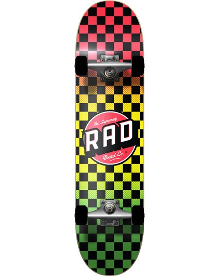 "Rad Skateboard Checkers 8.00"" Rasta Fade"