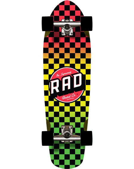 Rad Skateboard Cruiser Cali Checkers Rasta Fade