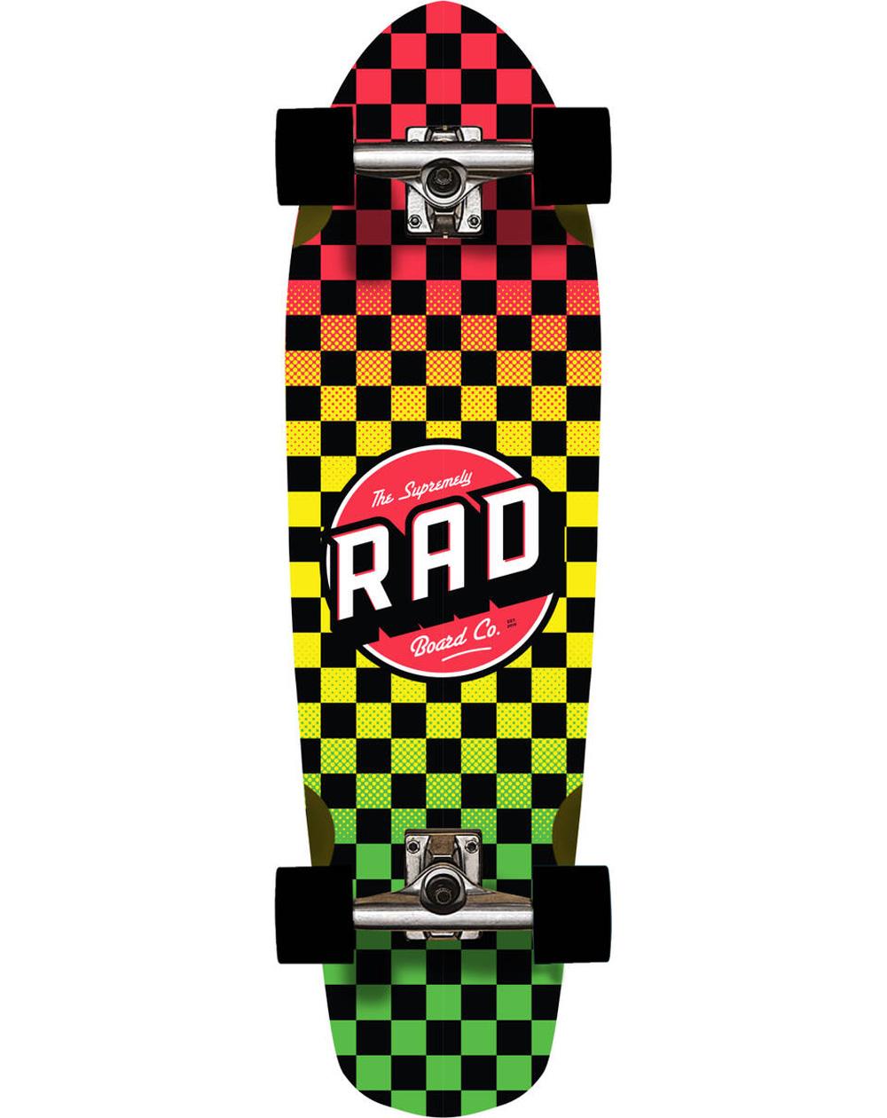 Rad Cali Skateboard Cruiser Checkers Rasta Fade