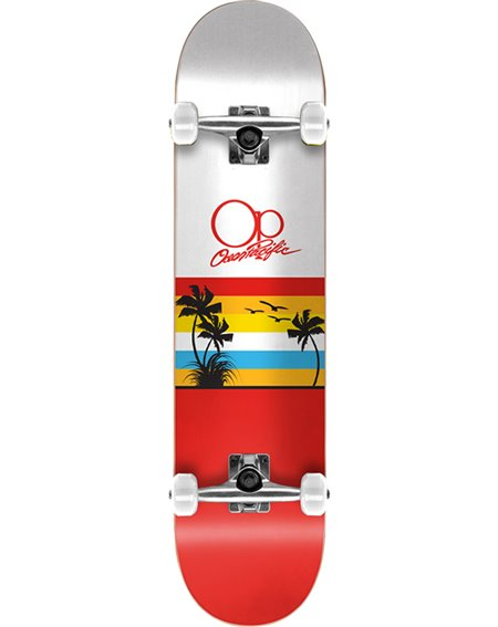 "Ocean Pacific Sunset 8.00"" Complete Skateboard White/Red"