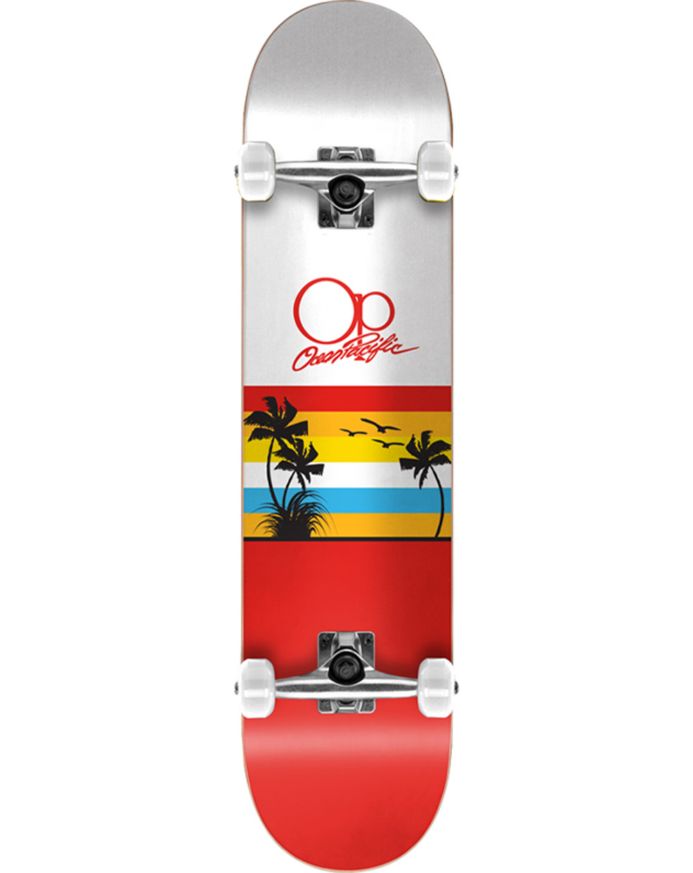 """Ocean Pacific Sunset 8.00"""" Complete Skateboard White/Red"""