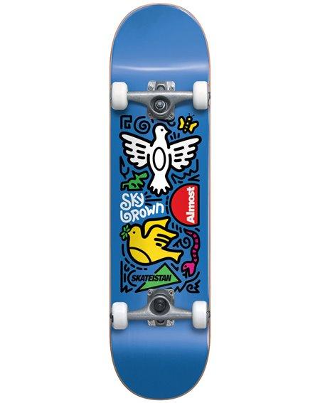 """Almost Skateistan Sky Doodle 7.5"""" Complete Skateboard Blue"""