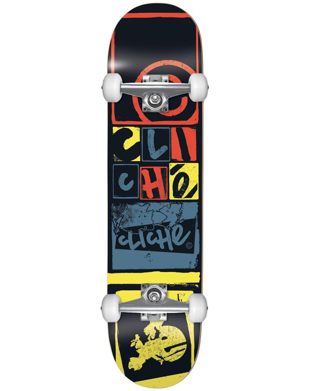 """Cliché Letter Press 8.00"""" Complete Skateboard Black"""