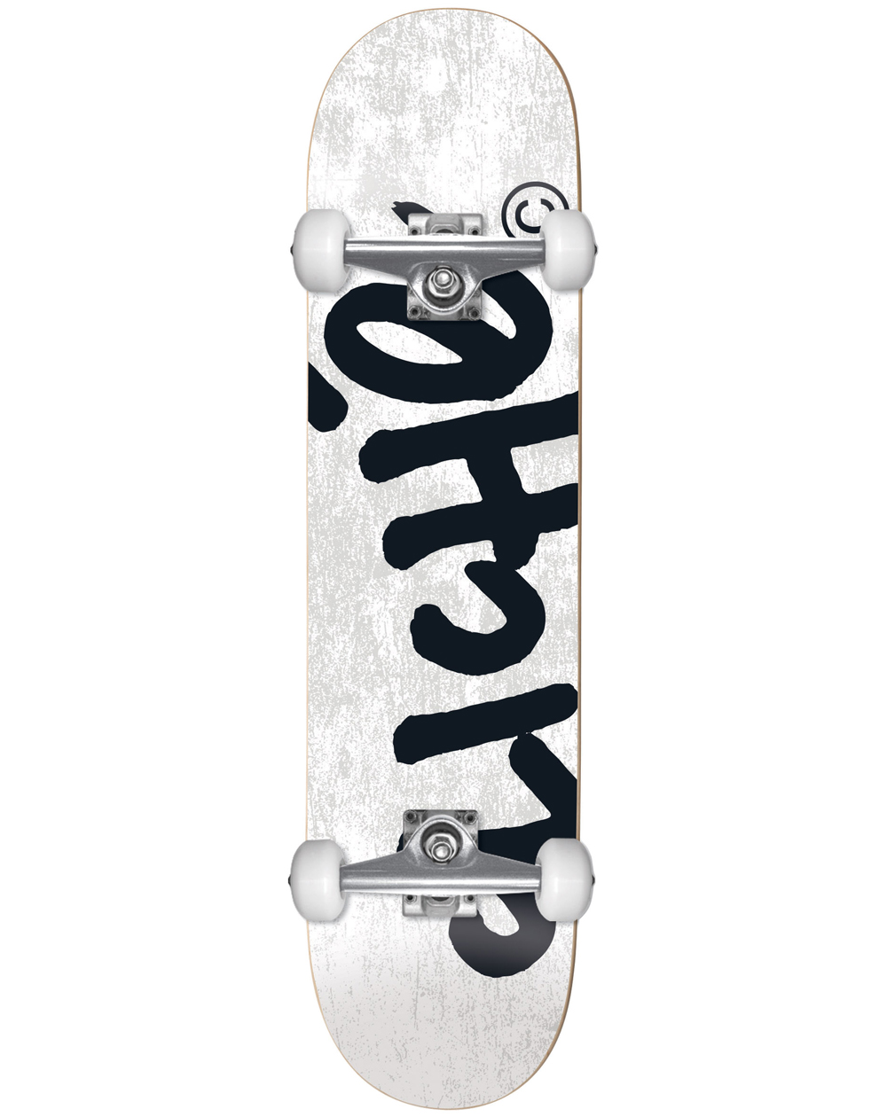 """Cliché Skateboard Handwritten 8.25"""" White"""