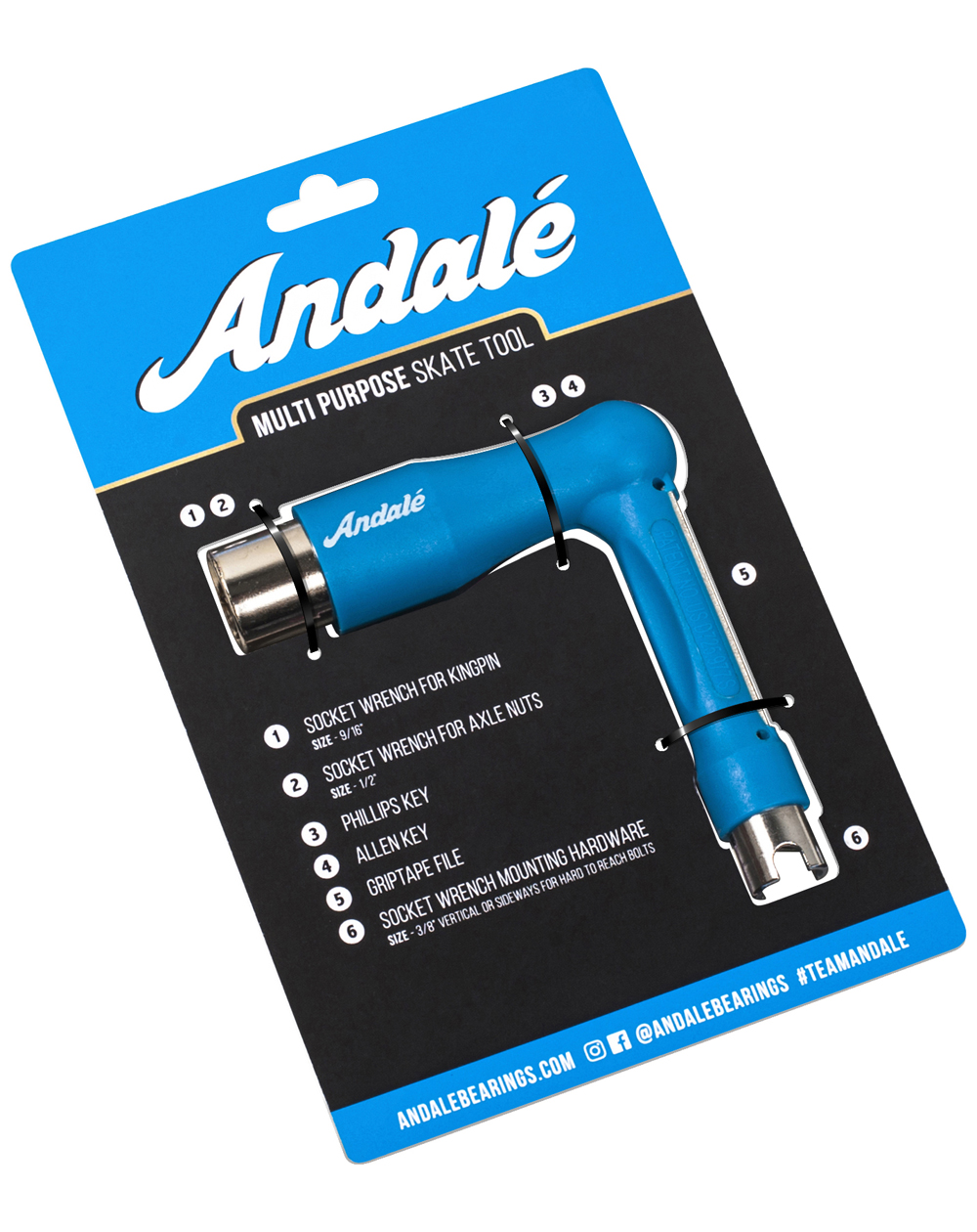 Andalé Multi Purpose Skateboard Tool Blue