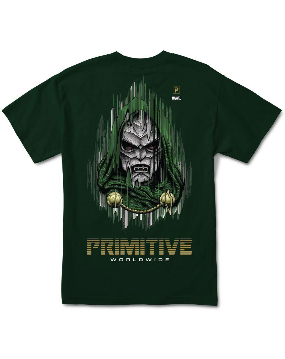 Primitive Men's T-Shirt Paul Jackson x Marvel - Doom Forest Green