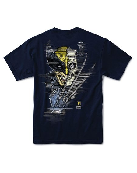 Primitive Men's T-Shirt Paul Jackson x Marvel - Wolverine Navy